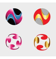 Set of circle round logos useful for your design vector