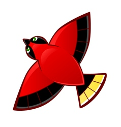 Flying red bird vector