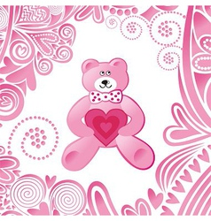 Valentines day card cute pink bear with heart vector
