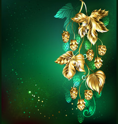 Golden hops on green background vector