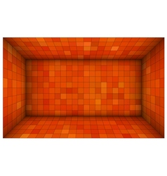 Empty futuristic room with red orange walls vector