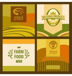 Set of eco food and farm logo green concept vector