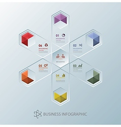 Modern fission hexagon business infographic design vector