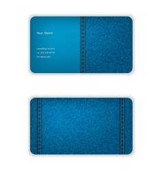 Business card from denim blue face and seamy vector