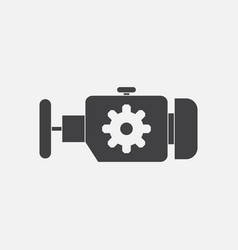 Black icon on white background engine and gear vector