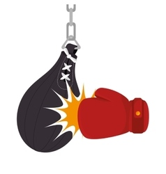 Boxing gloves equipment with punch bag icon vector