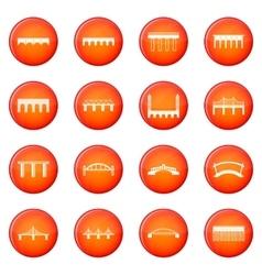 Bridge set icons set vector
