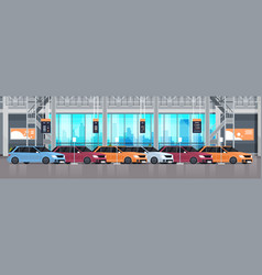 Cars dealership center showroom interior with vector