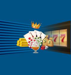 Casino games horizontal banner cartoon style vector