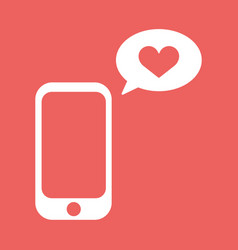 cellphone with with talk bubble and heart shape vector image vector image