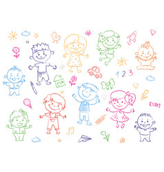 Cheerful children standing together drawings vector