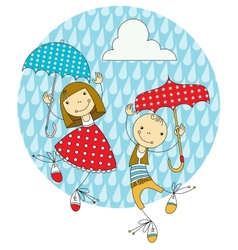 Children under umbrellas vector