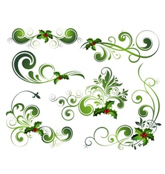 christmas floral elements vector image