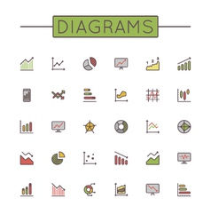 Colored diagrams line icons vector