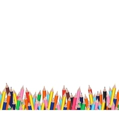 Colorful pencils frame with white background vector image