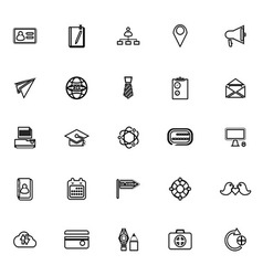 Contact connection line icons on white background vector