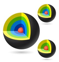 Cutaway sphere vector image