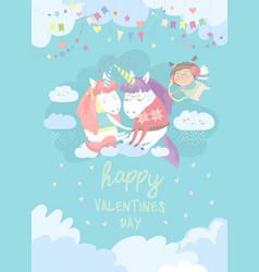 Cute card with fairy unicorns in love vector