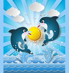 Dolphins in sea on the sunlight vector