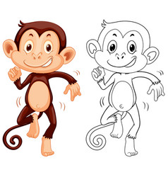 Doodle animal character for monkey dancing vector