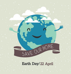 Earth day poster cartoon style planet earth in vector