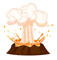Erupting liquid drop splashing out burning volcano vector