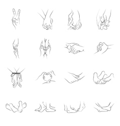 Female and male hands and feet vector image