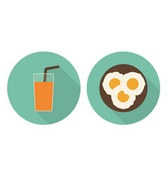 Flat glass of orange juice and fried eggs vector