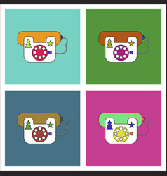 flat icon design collection landline phone vector image vector image