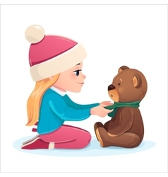girl with a bear vector image vector image