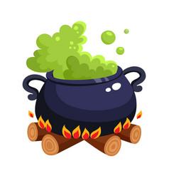 Halloween caldron cauldron with boiling green vector