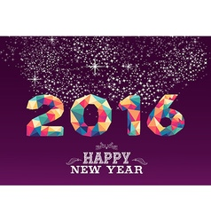 Happy new year 2016 color triangle vintage card vector