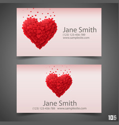 heart business card vector image vector image