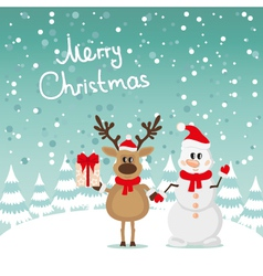Postcard Snowman and Reindeer vector image
