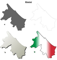 Rimini blank detailed outline map set vector