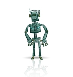 Robot character isolated on white vector image vector image