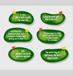 Set of funny quotes about golf vector