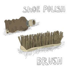 shoe polish and brush vector image vector image
