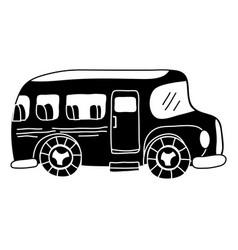 silhouette vehicle school bus education vector image