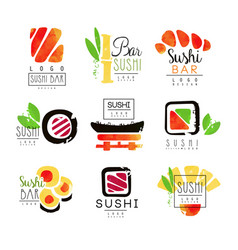 Sushi bar logo design set of colorful watercolor vector