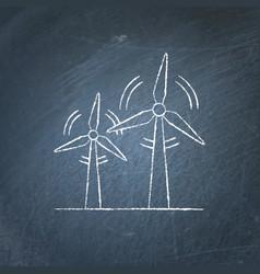 wind turbine chalkboard sketch vector image