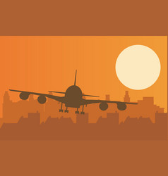 With plane taking off at sunset vector