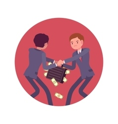 Struggle between businessmen for a case of money vector