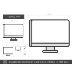Desktop line icon vector