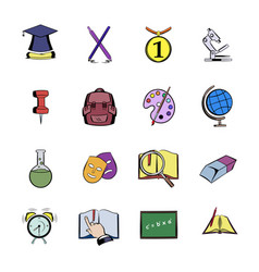 education comics icons set cartoon vector image