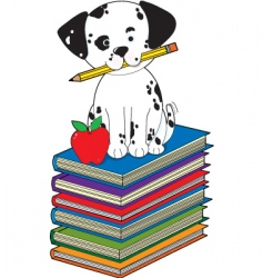 dog on books vector image