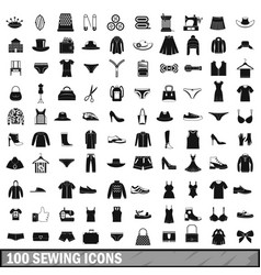 100 sewing icons set simple style vector
