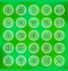Line web bitcoin icons vector