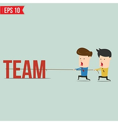 Two businessmen playing tug of war pull business vector