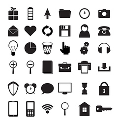 Black icons set vector